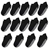 IMIVIO Black Baby Socks Non Slip Socks with Grippers for Boys Girls 6-12 Months