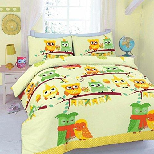 EDS Bettwäsche-Set mit Bettdeckenbezug und Kissenbezügen, pflegeleicht, mit Eulen-Motiv, OWL Lemon, Einzelbett