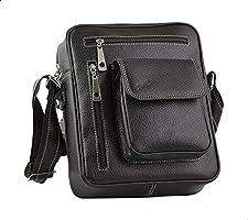 Seven K Genuine Leather Front-Pocket Detachable Shoulder Strap Zipped Crossbody Bag for Men -Black