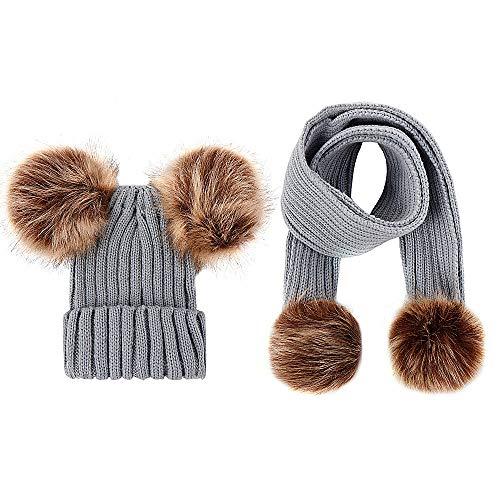 Luoistu Kids Winter Hat Gorro con Conjunto de Bufanda, Slouchy Warm Snow Knit Skull Cap Gorra de bebé Bufanda para niños niñas 3-48 Meses