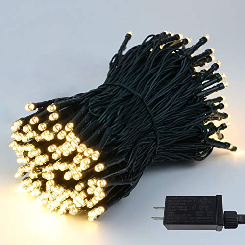 95FT 240 LED Green Wire Christmas String Lights (Extra-Long & Ultra-Bright), Upgraded Christmas Tree Lights with 8 Modes, Indoor Outdoor Plug in String Lights for Wedding Party Holiday (Warm White)