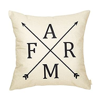 Fahrendom Rustic Farm Arrow Vintage Country Style Retro Farmhouse Quote Gift Cotton Linen Home Decorative Throw Pillow Case Cushion Cover with Words for Sofa Couch 18 x 18 Inch