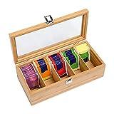 CMOISO Caja para Té de Bambú, Cajas para Infusiones, Té de Madera Multifuncional de 5 Compartimentos, Caja de Almacenamiento de Bolsitas de Té con Tapa Transparente