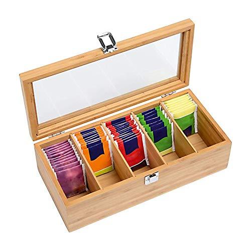 CMOISO Scatola da tè in Bambù, Porta Tisane, Tè Multifunzionale in Legno a 5 Scomparti, Contenitore per Bustine di Tè con Coperchio Trasparente