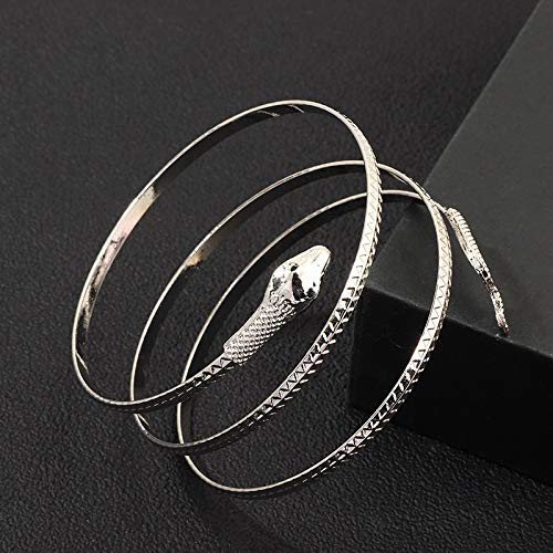 Wagrass Pulsera de llegada, estilo punk, con espiral, serpiente, espiral, en espiral, para hombre, joyería para mujeres, fiesta, joyería de Barcelets (color de metal: plata)