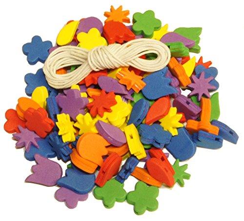 100 piezas de hilo de goma musgosa de diferentes formas, varios colores, incluye cordón