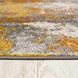 Carpeto Rugs Modern Läufer Flur Teppich Abstrakt Muster - Kurzflor Teppichläufer für Flur, Küche, Schlafzimmer, Esszimmer - Flurläufer in Versch. Größen und Farben - Gelb Gold 70 x 250 cm - 5