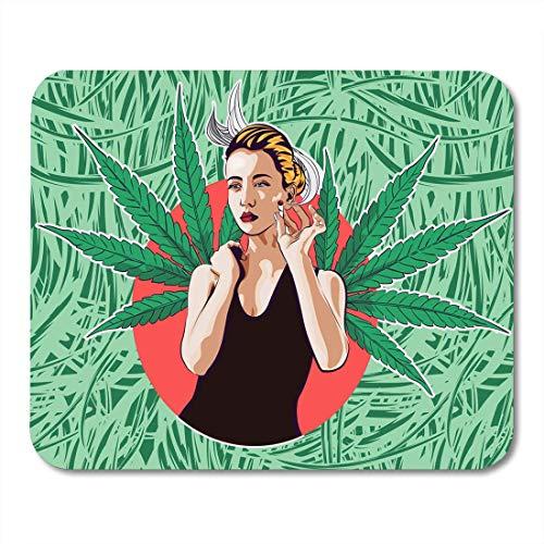 Mauspads Junge kaukasische weiße Frau im Taucheranzug Schwimmen unter Wasser mit Tauchen und Daumen hoch Happy Mouse Pad für Notebooks, Desktop-Computer Matten Büromaterial