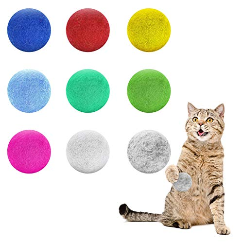 Weewooday 9 Pieces Wool Felt Ball Toys for Cats and Kittens Cat Wool Ball Toys Handmade Wool Dog Balls Colorful Soft Quiet Felted Fabric Balls for Cat Lover, Craft Supplies