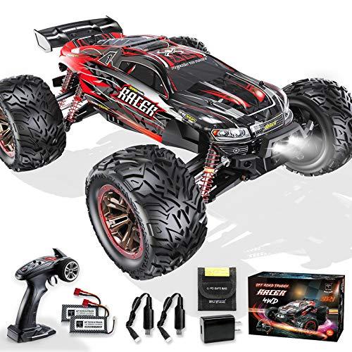 Ferngesteuertes Auto 1:10, 4WD 48 km/h RC Car Offroad mit 2* 1600mAh Batterien IPX6 Wasserdicht, All-Terrain Monstertruck Buggy für Kinder und Erwachsene Hobbist Grade,Rot und Schwarz