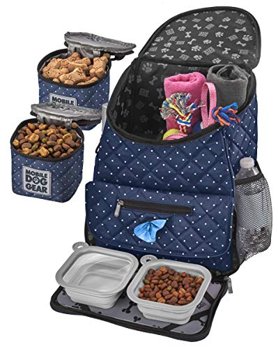 Mobile Dog Gear, Dog Travel Bag, Deluxe Quilted Weekender Backpack, Includes Lined Food Carriers and 2 Collapsible Dog Bowl, Navy and White