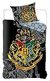 BrandMac Harry Potter - Juego de Funda nórdica de 135 x 200 cm y Funda de Almohada de 80 x 80 cm de algodón, Color Negro