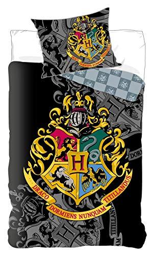BrandMac Harry Potter Bettwäsche-Set, Bettbezug 135 x 200cm, Kopfkissenbezug 80 x 80cm Baumwolle, schwarz, Hogwarts