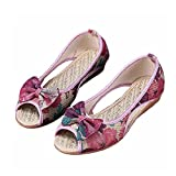 Sandalias de mujer de tela de algodón Bowknot zapatos de verano al aire libre zapatos de playa de ocio planos sandalias de punta abierta con boca de pez de oficina