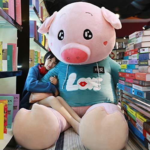 Kissenpuppe Süße Puppe Stoffpuppe Extra Große Schwein Kissen Geburtstagsgeschenk Mädchen Dunkelgrüner Pullover 1,6 Meter Im Rechten Winkel Und 1,4 Meter Länge