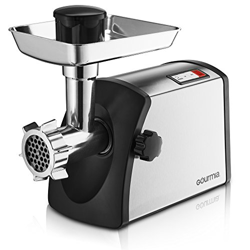 Gourmia Prime Plus Stainless Steel Electric Meat Grinder Different Grinding Plates, Sausage Funnels And Kibbeh Attachment Recipe Book Included 800 Watts ETL Approved 2200 Watts Max. - 110V
