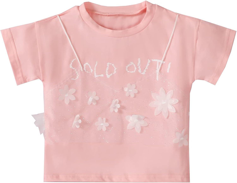 JUNLIN Dress for Girls Short Sleeved Mesh Flower Letters Pullover Shirt Round Neck T-Shirt