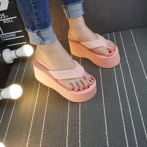 Ririhong 2021 Chanclas de tacón Alto para Mujer Antideslizante Ropa de Verano para Mujer Sandalias y Zapatillas de Playa para estudiantes-37_Pink
