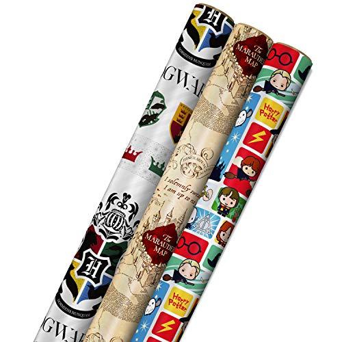 Hallmark Harry Potter Wrapping Paper with Cut Lines on Reverse (3-Pack: 60 sq. ft. ttl; Marauder's Map, Hogwarts Crest) for Birthdays, Graduations, Christmas, Valentine's Day