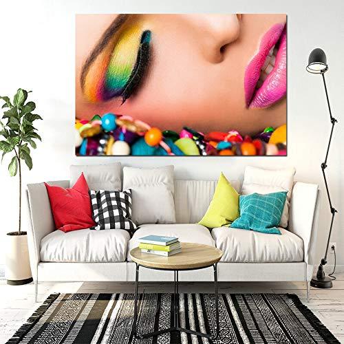 ganlanshu Retrato Hermosa niña Labios Rojos Ojos Maquillaje Impresiones Cartel Lienzo Mural Sala decoración de la Pared Arte Pintura sin Marco 70cmX105cm