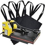 HELO Transferpresse Textilpresse mit 38x38 cm teflonbeschichteter Heiz-Druckplatte, 20 kg Druck durch verbesserter Hebeltechnik und Silikonmatte zur Druckverteilung, inkl. 5 x Taschen in Schwarz