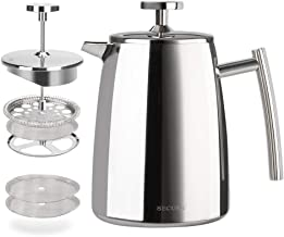 Secura French Press Coffee Maker, 17-Ounce, 18/10 Stainless Steel Insulated Coffee Press with Extra Screen
