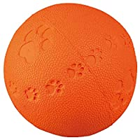A great toy for your pet dog Made of natural rubber Squeaky sound with appropriate paw print pattern Large, so suitable for bigger dogs 9 cm ball diameter