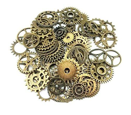 Ericotry 100 Gram(Ongeveer 70 stks) Verschillende Retro Stijl Antieke Steampunk Gears Charms Hanger Klok Horloge Wiel Gear voor het Crafting DIY Sieraden Maken Accessoires (Bronzen)