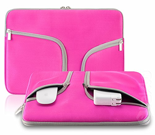 Steklo - Laptop Sleeve 13 inch Neoprene MacBook Sleeve Case - Perfect MacBook Sleeve Cover with Pockets for MacBook Pro 13 inch Sleeve and MacBook Air 13 inch Sleeve, Laptop Bag 13 inch - Pink