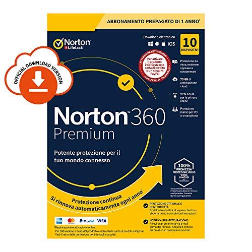 Norton 360 Premium 2021, Antivirus per 10 Dispositivi, Licenza di 1 anno con rinnovo automatico, Secure VPN e Password Manager, PC, Mac, tablet e smartphone, Codice d'attivazione via Email