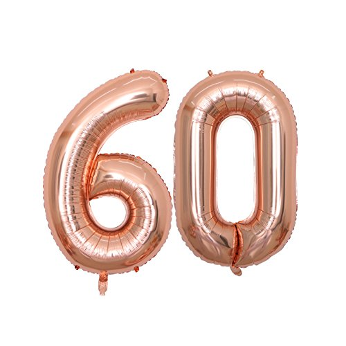 BALONAR 40 inch Jumbo 60th Rose Gold Foil Balloons for Birthday Party Supplies,Anniversary Events Decorations and Graduation Decorations (ROSE60)