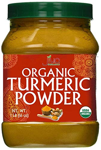 Organic Turmeric Powder 1 Pound Jar by Jiva Organics - 100% Raw with Curcumin