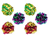 PETFAVORITES Mylar Crinkle Balls Cat Toys Interactive Crinkle Cat Toy Balls Independent Pet Kitten Cat Toys for Fat Cats Kittens Exercise, Soft and Right Size (6 Pack)