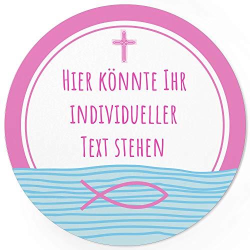 24 INDIVIDUELLE runde Etiketten SELBER GESTALTEN: Rosa Fisch Kreuz - Personalisierte Aufkleber für Taufe, Konfirmation, Kommunion, Ostern, Weihnachten