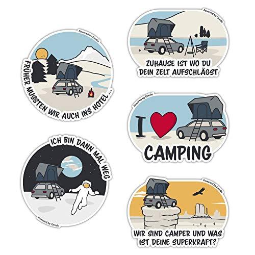 Qeedo Camping-Sticker-Set, 5 witzige Auto Sticker mit Camping-Motive, Camping Aufkleber