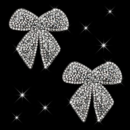 HungMieh Bling Car Decals, Crystal Car Décor, Rhinestone Car Accessories for Women, Diamond Car Stickers and Decals for Motorcycle Helmet Laptop Tumbler Luggage Guitar (Silver Bowtie)