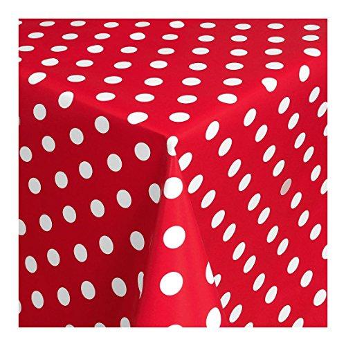 WACHSTUCH Tischdecken Wachstischdecke Gartentischdecke, Abwaschbar Meterware, Länge wählbar, Punkte Rot Weiß (150-01) 50cm x 140cm