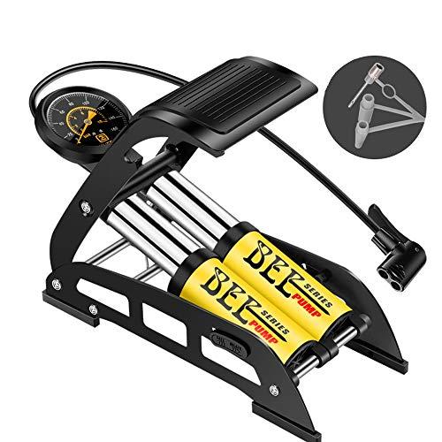 Alianstore - Pompa ad aria, due pompa a pedale con manometro di precisione (con manometro fino a 10 bar), adatta per: bicicletta, moto, pneumatici auto, palloni, piscina gonfiabile, ecc.
