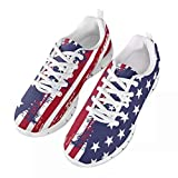 GIFTPUZZ Patriotic American Flag Running Shoes Sports Trainers Low Top Anti-Slip Men's Athletic Walking Shoes Casual Comfortable Running Sneakers Mesh Tennis Sneakers Stars and Stripes Red Blue