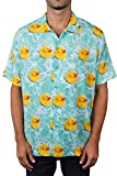 NEFF Men's Daily Button Up Hawaiian Style Patterned Pool Side Shirt, Turquoise Reduck, Large