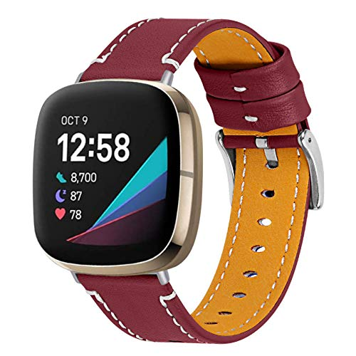 TechCode Fitness Bands for Fitbit Versa 3, Genuine Leather Bands Replacement with Metal Stainless Steel Buckle Wristband Quick Release Straps Compatible with Fitbit Sense/Versa 3 for Women Men (Red)