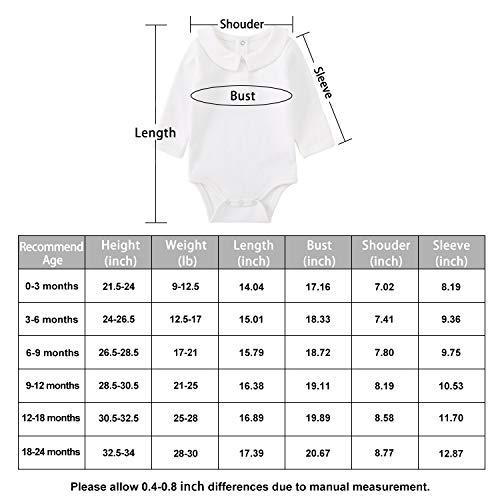 pureborn 2-Pack Unisex Baby Bodysuit Solid Baptism Long Sleeve Onesies White 6-9 Months