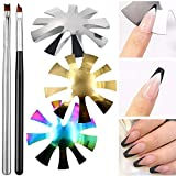 3 Pieces Almond Shape French Smile Cut V Line Cutter Tools Stainless Steel Nail Manicure Edge Trimmer Templates with 2 Pieces Nail French Tip Brushes for DIY Acrylic Nail Art (SET)