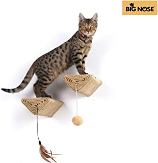 BIG NOSE - Wall Mount Cat Floating Steps Shelves Scratching Post with Leaser Feather and Fluffly Ball