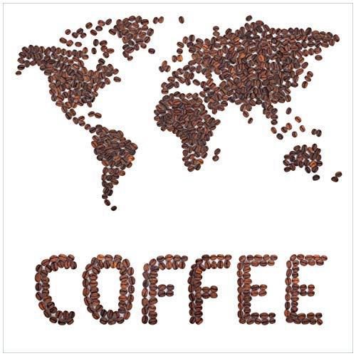 Wallario Sticker/Aufkleber für Kühlschrank/Geschirrspüler/Küchenschränke, Selbstklebende Folie - 60 x 60 cm, Motiv: Weltkarte mit Schriftzug aus Kaffeebohnen