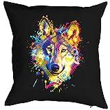 Art & Detail Shirt Neon Kissen mit Füllung: Wolf