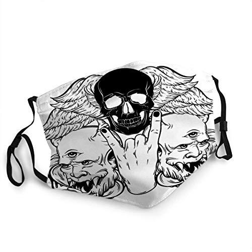 Mond Anti-Dust Rock met Menselijke Schedel Vleugels en Duivel Tattoo Artwork TEM