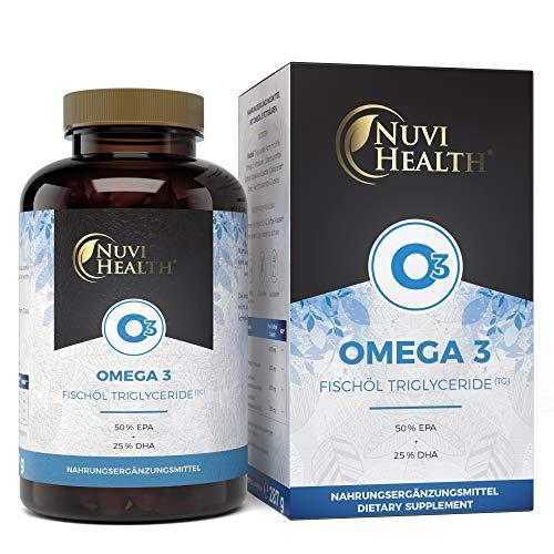 Premium Omega 3 Fischöl 1000 mg - 200 Kapseln mit 3-facher Stärke: 80% Omega 3-Gehalt & in Triglyceride Form - Laborgeprüft - Hohe Reinheit - Nachhaltiger Fischfang