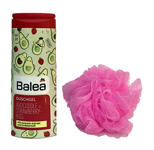 Balea Duschgel Avocuddle & Strawberry Kiss, 300ml + treaclemoon Duschknäul rosa/pink (Avocuddle & Strawberry)