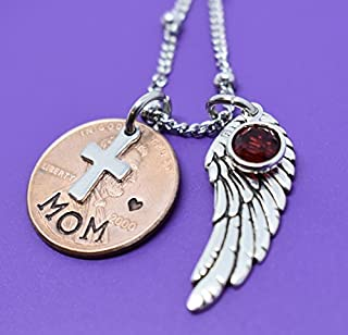Memorial Jewelry, Pennies From Heaven Necklace keepsake, Penny Necklace, Hand stamped, Cross